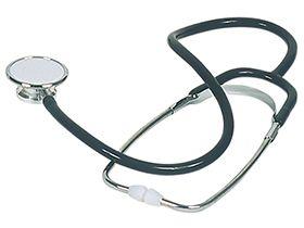 Doppelkopf-Stethoskop, schwarz, Kopf aus Zinkaluminium-Legierung, Ohrstück aus PE