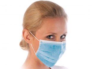 Mundschutzmasken 3-lagig mit Gummibänder Typ IIR, blau, PP-Vlies, Glasfaserfrei