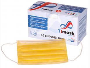 Mundschutzmasken 3-lagig gelb, mit weissen Gummibänder,Typ IIR, PP-Vlies,