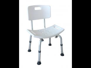 Duschhocker mit Rücklehne, weiss 5-fach höhenverstellbar,Anti-Rutsch-Sitz
