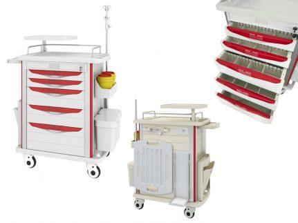 Multifunktions- und Medikamentenwagen Premium, 850 x 520 x 950 mm, CARTIES