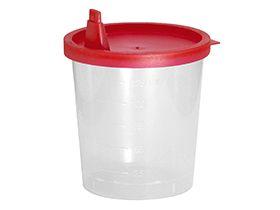 Urinprobebecher mit rotem Schnapp- verschluss, Polypropylen, Inhalt 125 ml,