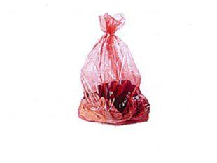 Wäschesack, mit wasserlöslichem Siegel- streifen, 71 x 76 cm, 30 µ, rot-transp.,