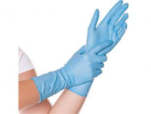 "Nitril-Handschuhe ""SAFE LONG"" blau, puderfrei, Grösse L, 30 cm lang"