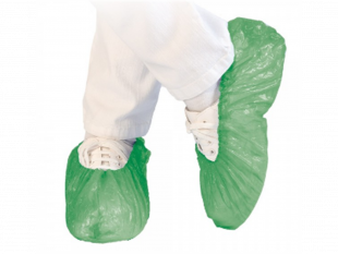 Überschuhe aus Polyethylen (CPE) 40 my grün, Einheitsgrösse Länge 41 cm,