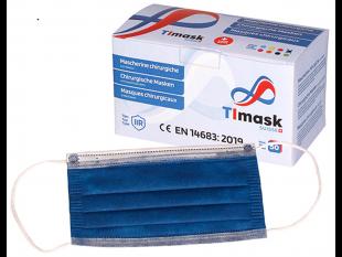 Mundschutzmasken 3-lagig dunkelblau, mit weissen Gummibänder,Typ IIR, PP-Vlies,