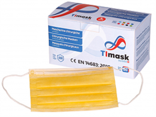 Mundschutzmasken 3-lagig mit Gummibänder Typ IIR, gelb, PP-Vlies, Grösse