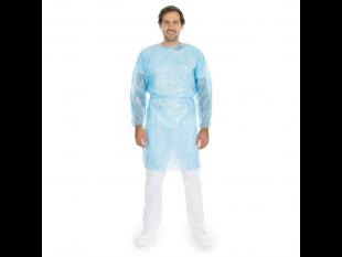 Einweg Schutzkittel, PP / PE Vlies, 120 cm x 140 cm, blau, PE-Voll-