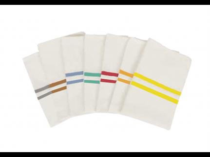 Laundries, Wäschesäcke aus Polyester weiss mit grünen Streifen,57.5 x 100 cm