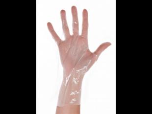 Einweghandschuhe Grösse L, aus CPE-Folie, transparent, strukturierte