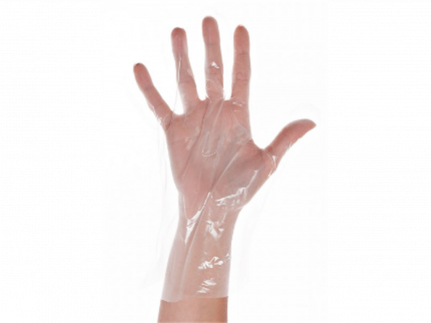 Einweghandschuhe Grösse M, aus CPE-Folie, transparent, strukturierte
