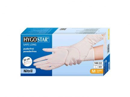 "Handschuhe Nitril ""SAFE LONG"" weiss, Grösse M, starke Qualität, 30 cm"
