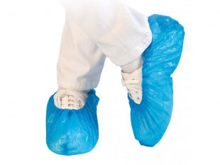 Überschuhe aus Cast Polyethylen (CPE), 25 my, blau, Einheitsgrösse Länge 41 cm,