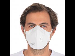 Atemschutzmaske FFP2 mit Ventil, weiss EN 149:2001+A1:2009, faltbar,