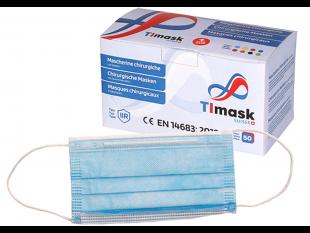 Mundschutzmasken 3-lagig hellblau, mit weissen Gummibänder,Typ IIR, PP-Vlies,