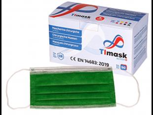 Mundschutzmasken 3-lagig grün, mit weissen Gummibänder,Typ IIR, PP-Vlies,