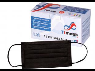 Mundschutzmasken 3-lagig schwarz, mit schwarzen Gummibänder,Typ IIR, PP-Vlies,