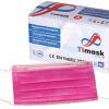 Mundschutzmaske pink 3-lagig Typ IIR, PP-Vlies, weisse Gummibänder