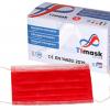 Mundschutzmaske 3-lagig rot, Typ IIR, PP-Vlies, weisse Gummibänder