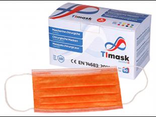 Mundschutzmaske 3-lagig orange, Typ IIR, PP-Vlies, weisse Gummibänder