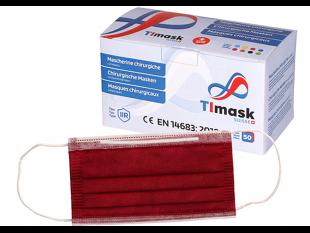 Mundschutzmasken 3-lagig bordeaux, mit weissen Gummibänder,Typ IIR, PP-Vlies,