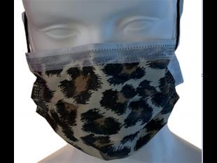 """Mundschutzmasken 3-lagig, """"Leopard"""", mit weissen Gummibänder,Typ IIR, PP-Vlies,"""