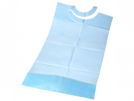 Schutzservietten 38 x 70 cm, mit Tasche 3-lagig, blau, mit PE-Folie innen