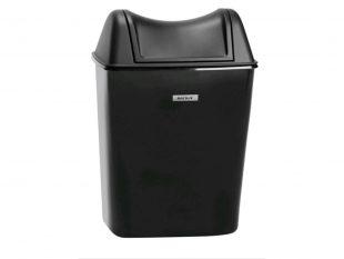 Abfalleimer Katrin Damenhygiene schwarz mit Klappdeckel, 8 Liter