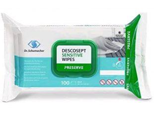 Descosept Sensitive Wipes, 20 x 22 cm, alkoholische Desinfektionstücher für
