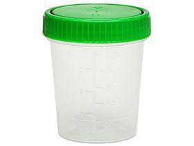 Urinprobebecher mit grünem Schraub- verschluss, Polypropylen, Inhalt 125 ml