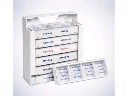 Tablettendispenser für 7 Tage, weiss, 10.5 x 3.9 x 12 cm