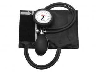 Blutdruckmessgerät, schwarz, aneroid, 2-Schlauchsystem PVC