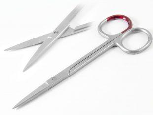 Sterile Fadenschere, 11 cm, gerade, einzeln verpackt, fein, spitz/spitz