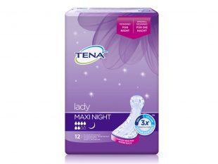 Tena Lady Maxi Night, L 39.4 x B 14.6 bzw. 18.2 cm (hinten)