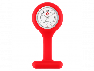 Schwesternuhr aus Silikon, rot, ø 4 cm, 8 cm lang