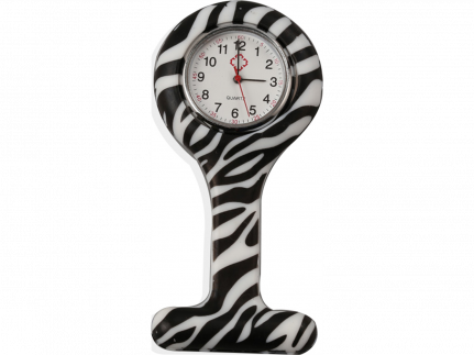 "Schwesternuhr, Silikon, ""Zebra"" ø 4 cm, 8 cm lang"