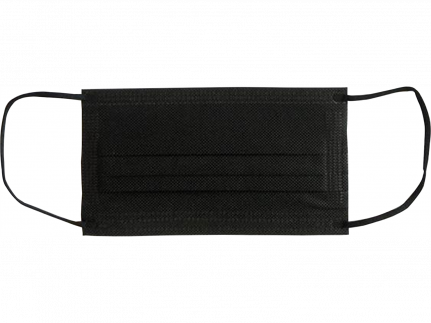 Mundschutzmasken 3-lagig mit Gummibänder Typ IIR, schwarz, unsteril
